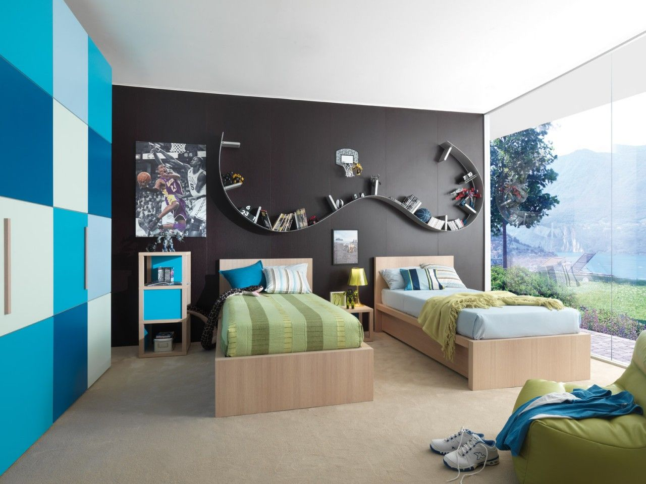Captivating Black Wall, Checkered Wall, And Book Shelf Is So Cool Too! Blue And Black  Wall Scheme And Twin Bedding Sets In Modern Kids Bedroom Design Ideas Photo Gallery