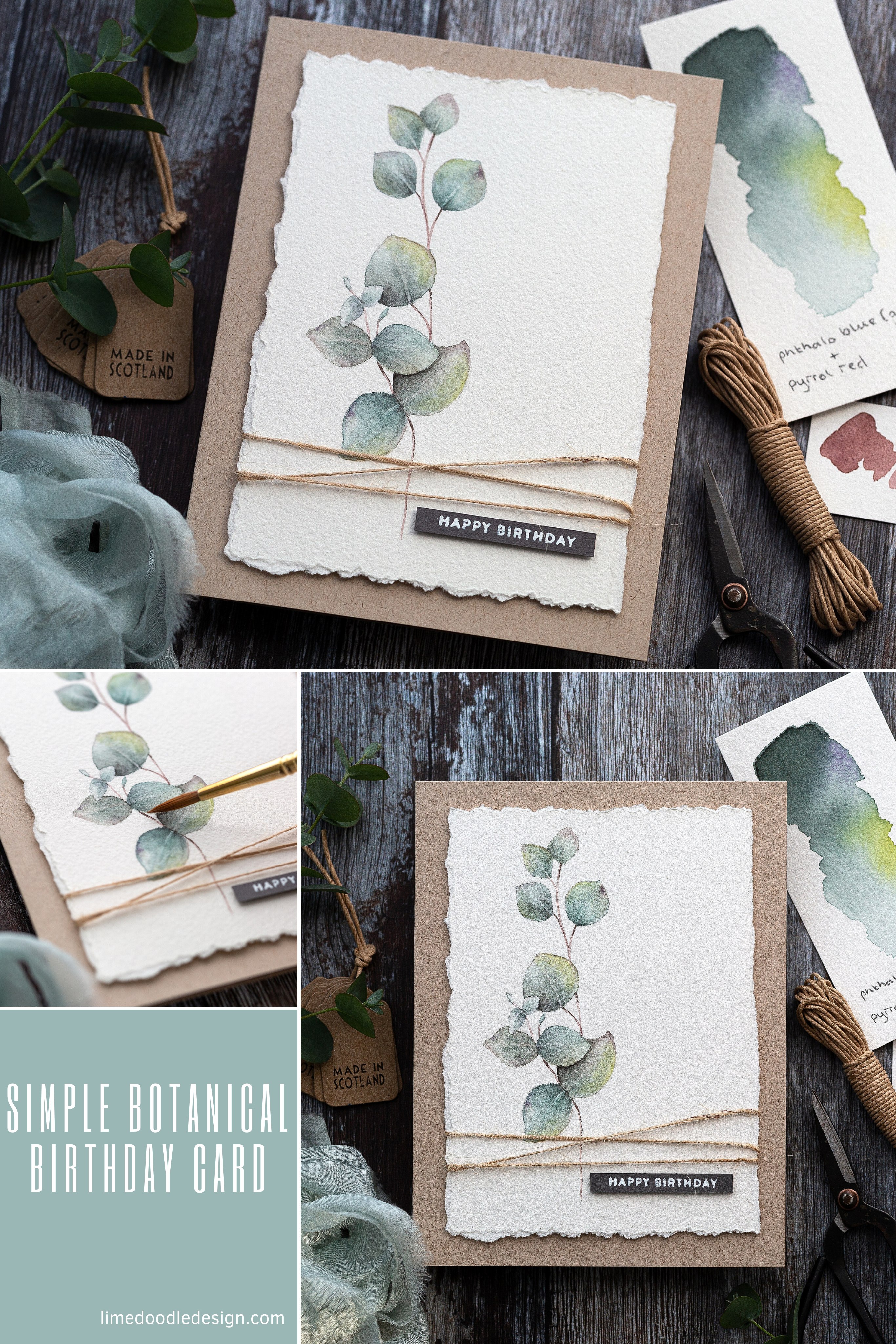 Photo of Simple Masculine Watercoloured Birthday Card