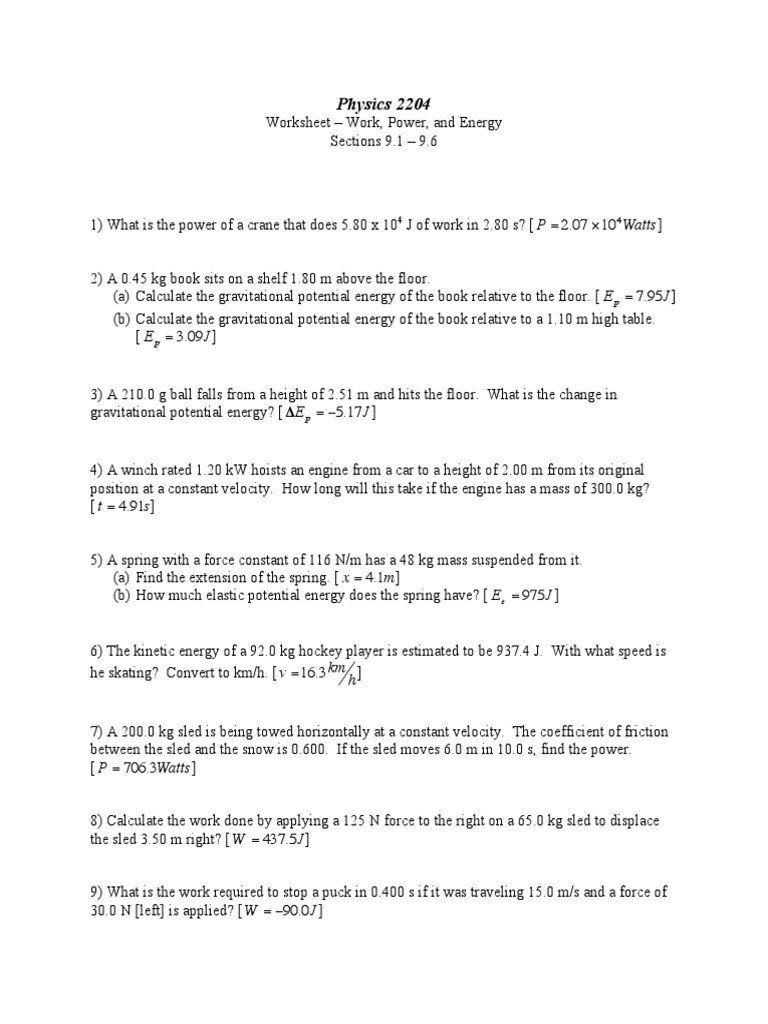 Work And Power Worksheet Answer Calculating Work And Power Worksheet Nidecmege In 2020 Potential Energy Word Problem Worksheets Calculating Work