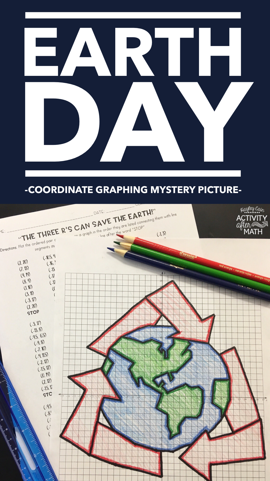 Earth Day Recycling Coordinate Graphing Picture
