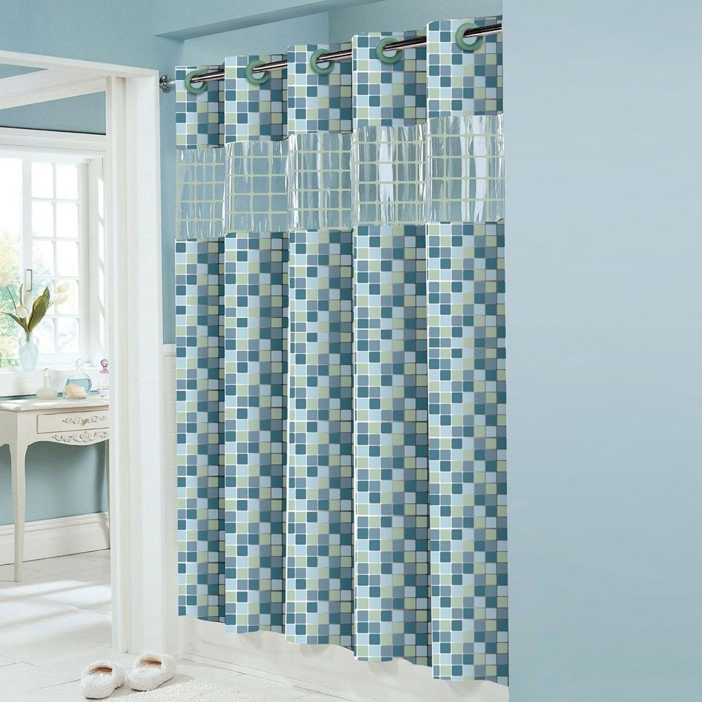 Hookless shower curtain with snap liner - Hookless Peva Shower Curtain