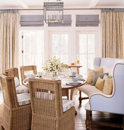 "This dining setup is just beautiful! One of my favorite things is a sofa in a kitchen eating area or at the dining room table. It's like ""eating out"" in your own home. Photo from ""Southern Accents Beach House"" at My Home Ideas"