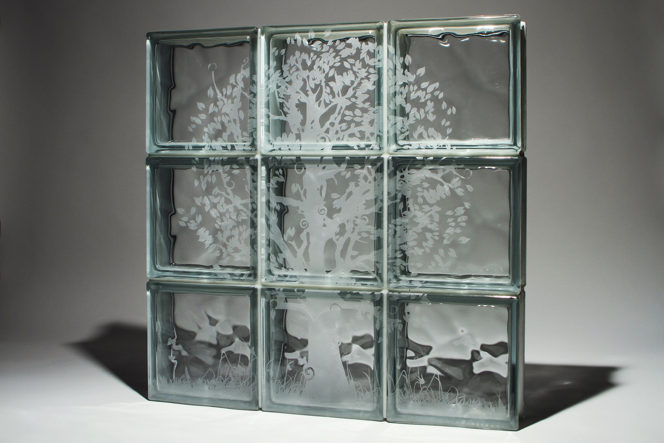 Glass Block With Tree Design - Add Style With Etched