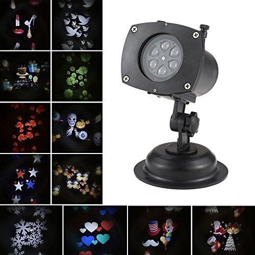 Solled Projection Lights Rotating Led Projector Lamp 12 Patterns Pumpkin Ghost Heart Snowflake Replaceabl Christmas Decorations Outdoor Halloween Light Project