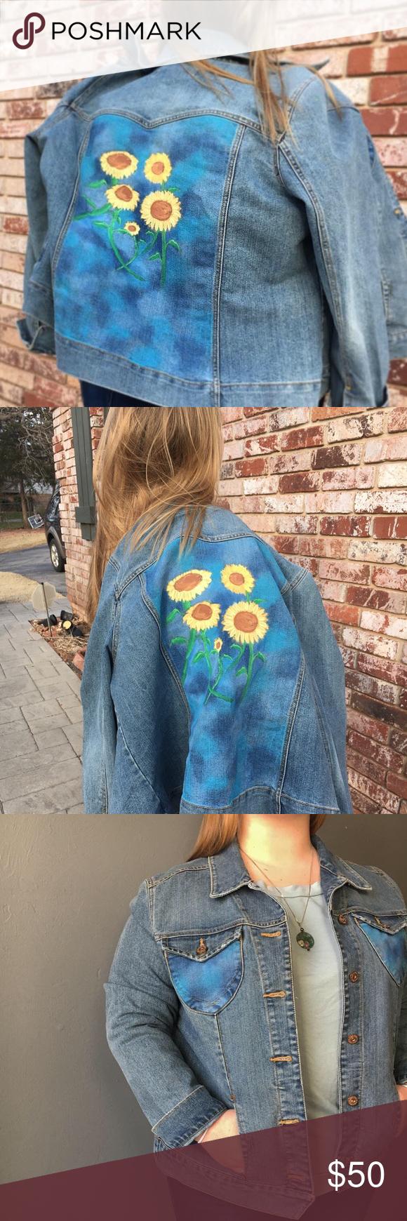 Hand Painted Sunflower Denim Jacket Denim Jacket Painted Jeans Jackets [ 1740 x 580 Pixel ]