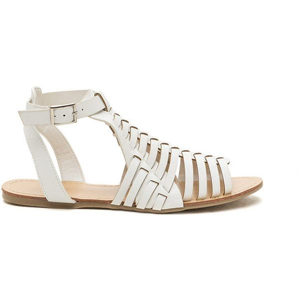 Hidden Oasis Faux Leather Woven Sandals WHITE ($19) ❤ liked on Polyvore featuring shoes, sandals, white, synthetic shoes, synthetic leather shoes, woven sandals, huarache shoes and white huaraches