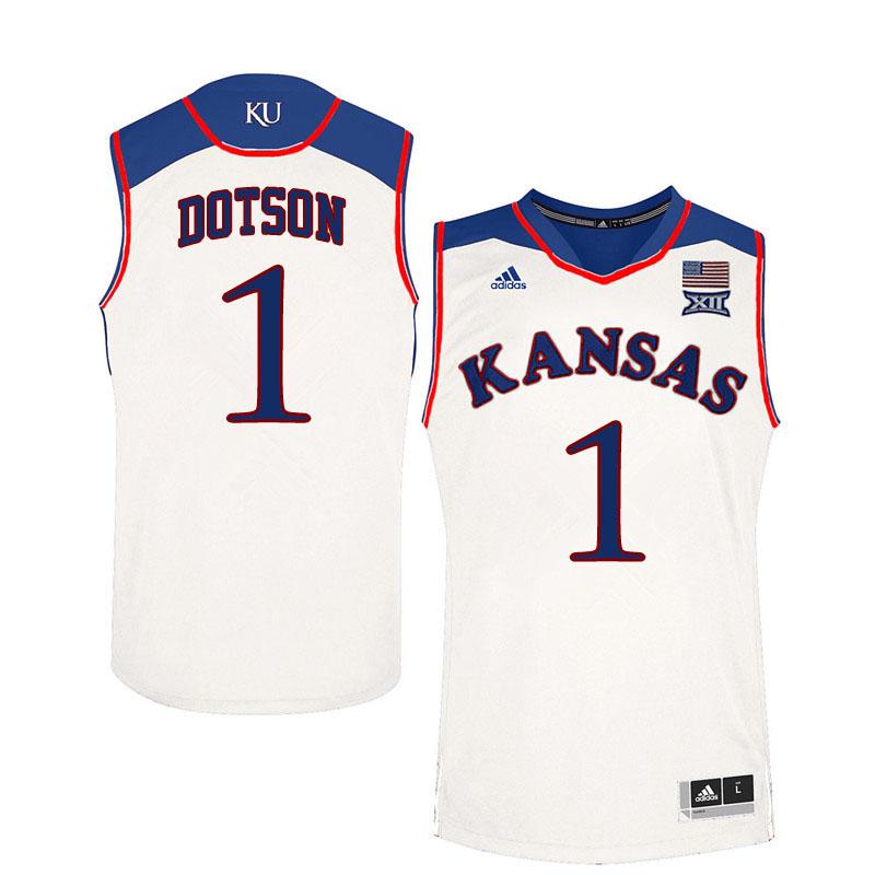 quality design 99dac 6e7c4 Men #1 Devon Dotson Kansas Jayhawks College Basketball ...