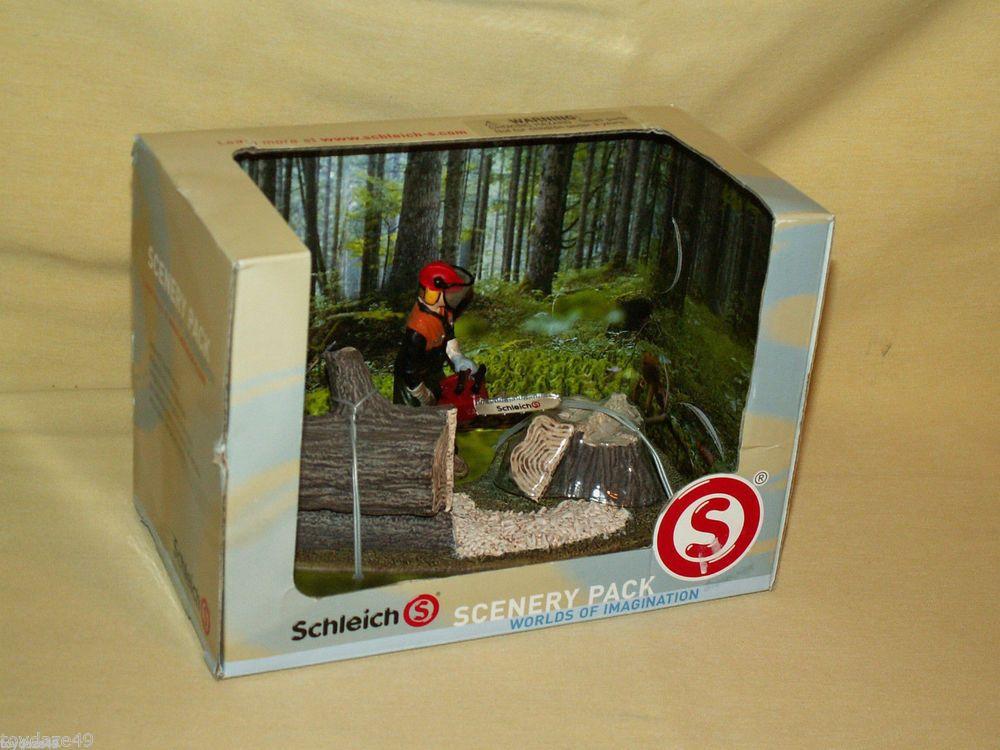 SCHLEICH SCENERY PACK WORLDS OF IMAGINATION 41806 LUMBER JACK CHAIN SAW WOOD #Schleich