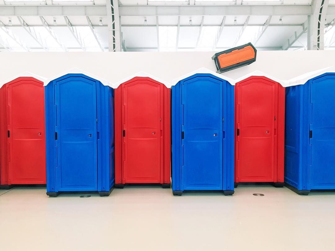 Portable Toilet Exhibition : Portable toilets in an exhibition space. i am back home in hamburg