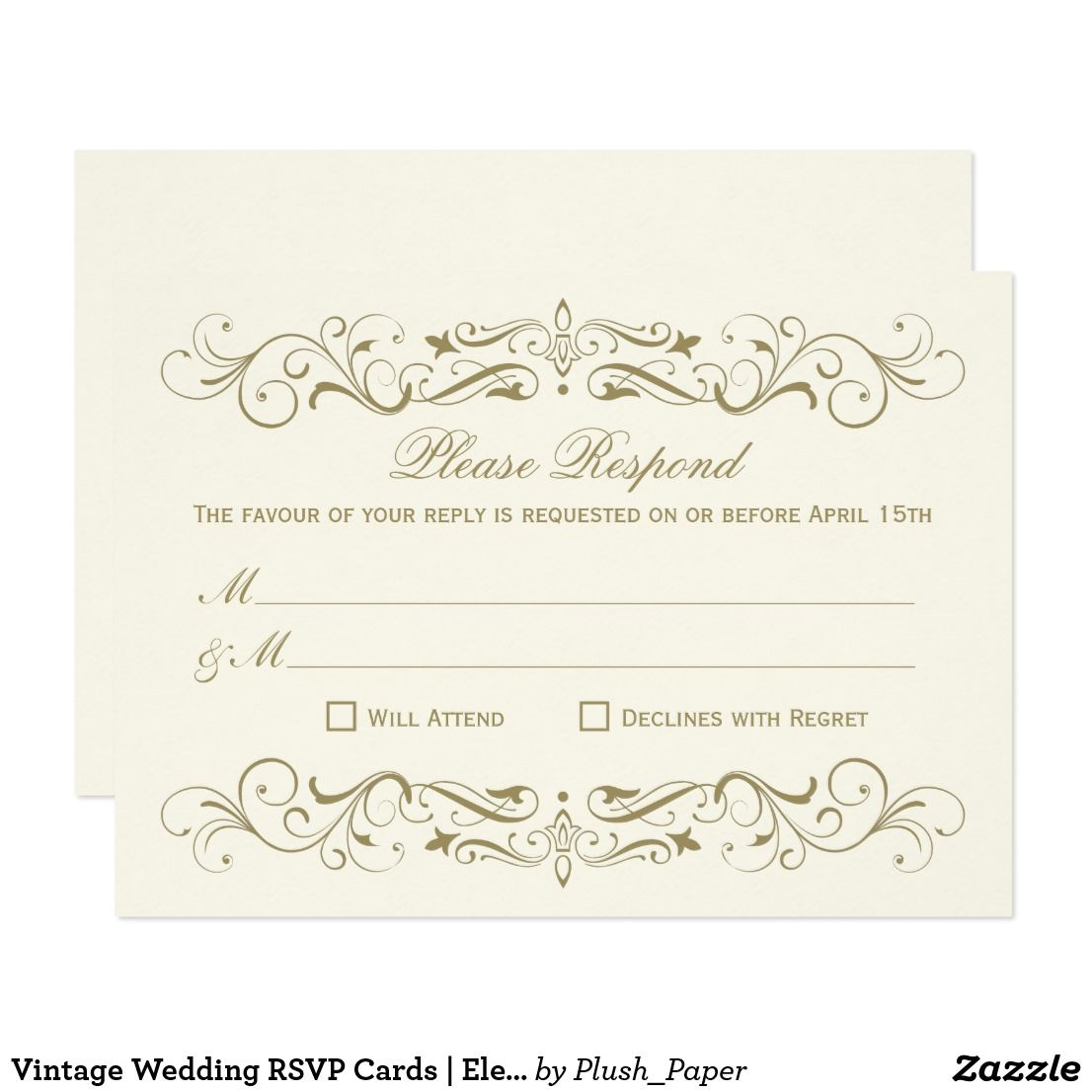Vintage Wedding RSVP Cards | Elegant Flourish | Wedding rsvp, Rsvp ...