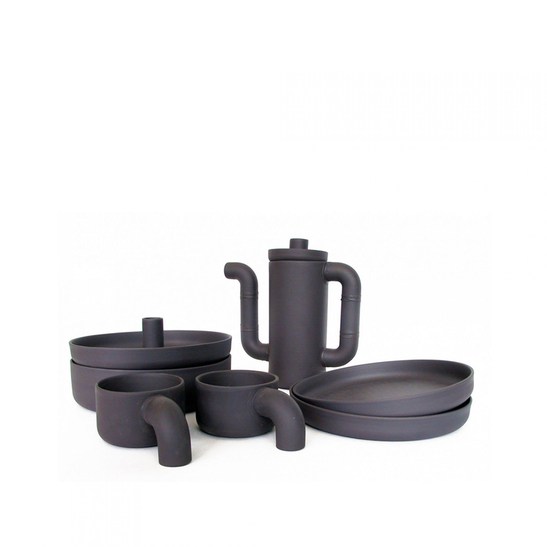 Designer Coffee Set | Dutch Black Porcelain | Ineke Hans