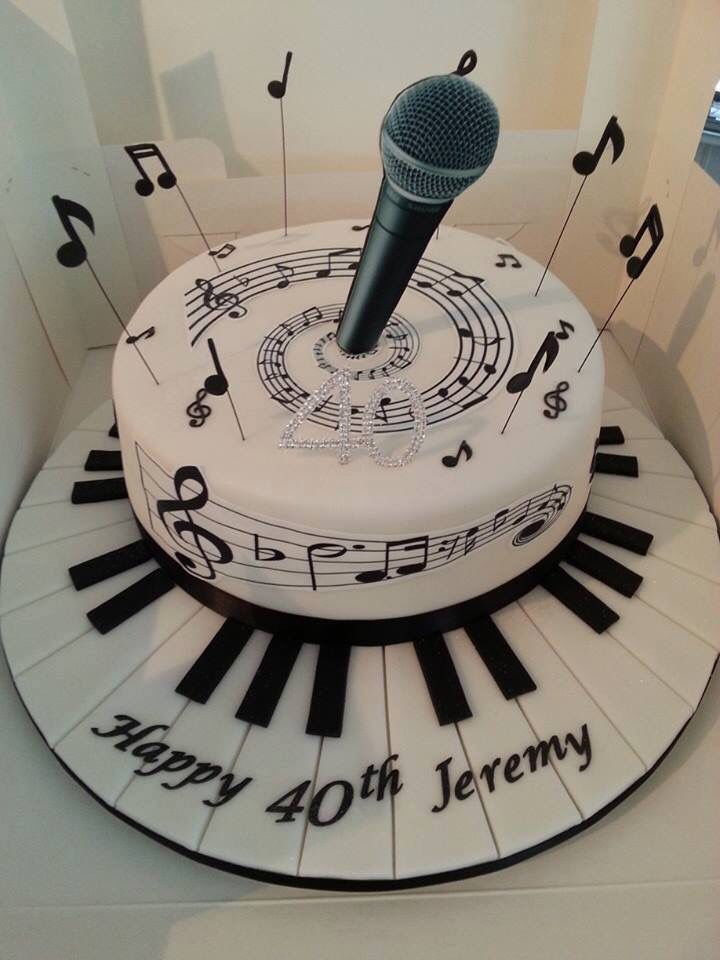 Happy 40th Birthday Musical Shaped Cake Crazy Cakes Pinterest
