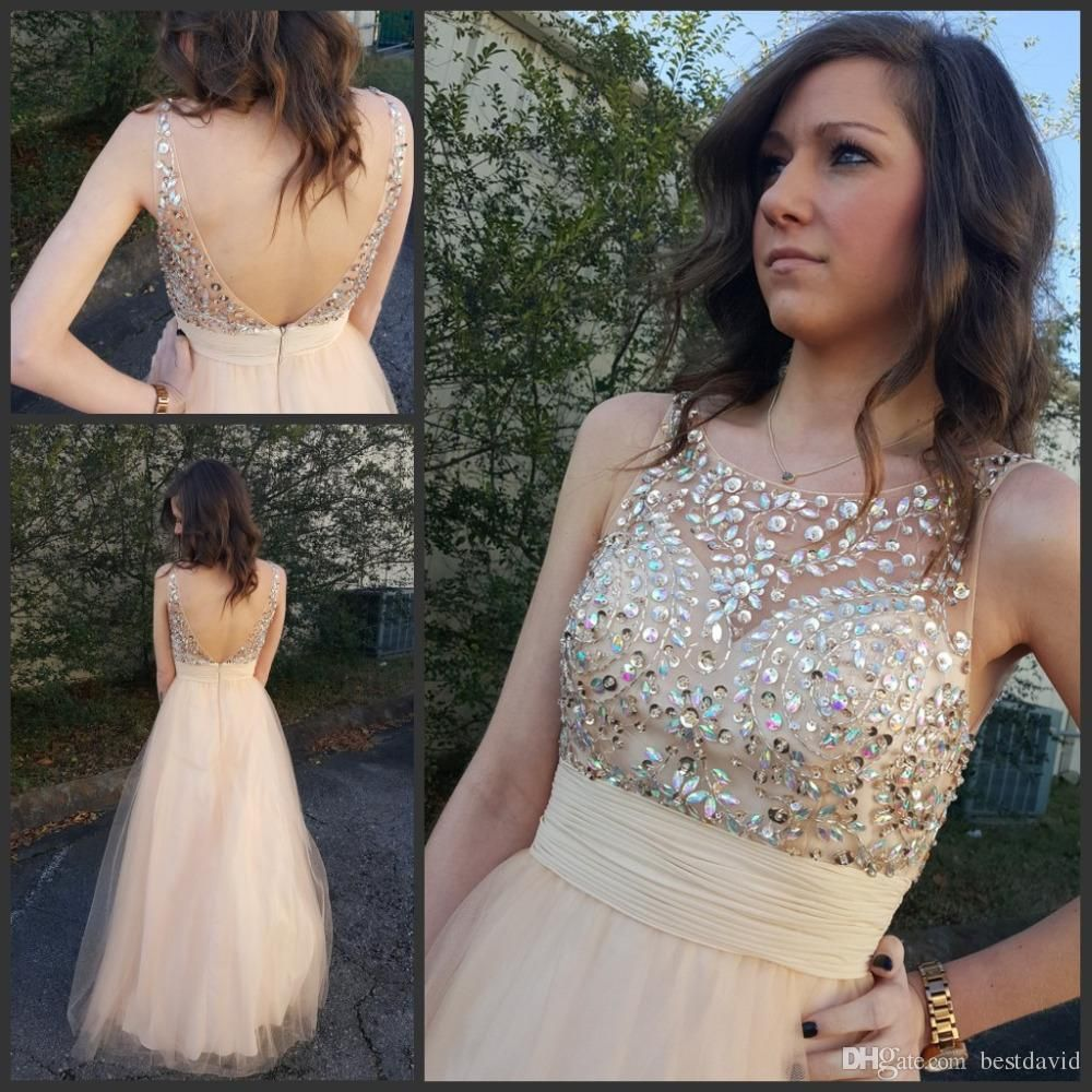 Sexy nude beaded bodice prom dresses backless v back sheer