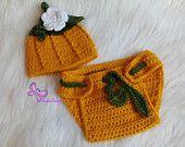 $13.49 Newborn Pumpkin Set Crochet pumpkin costume Pumpkin Beanie and Diaper cover newborn halloween costume Baby Halloween Baby Pumpkin Costume