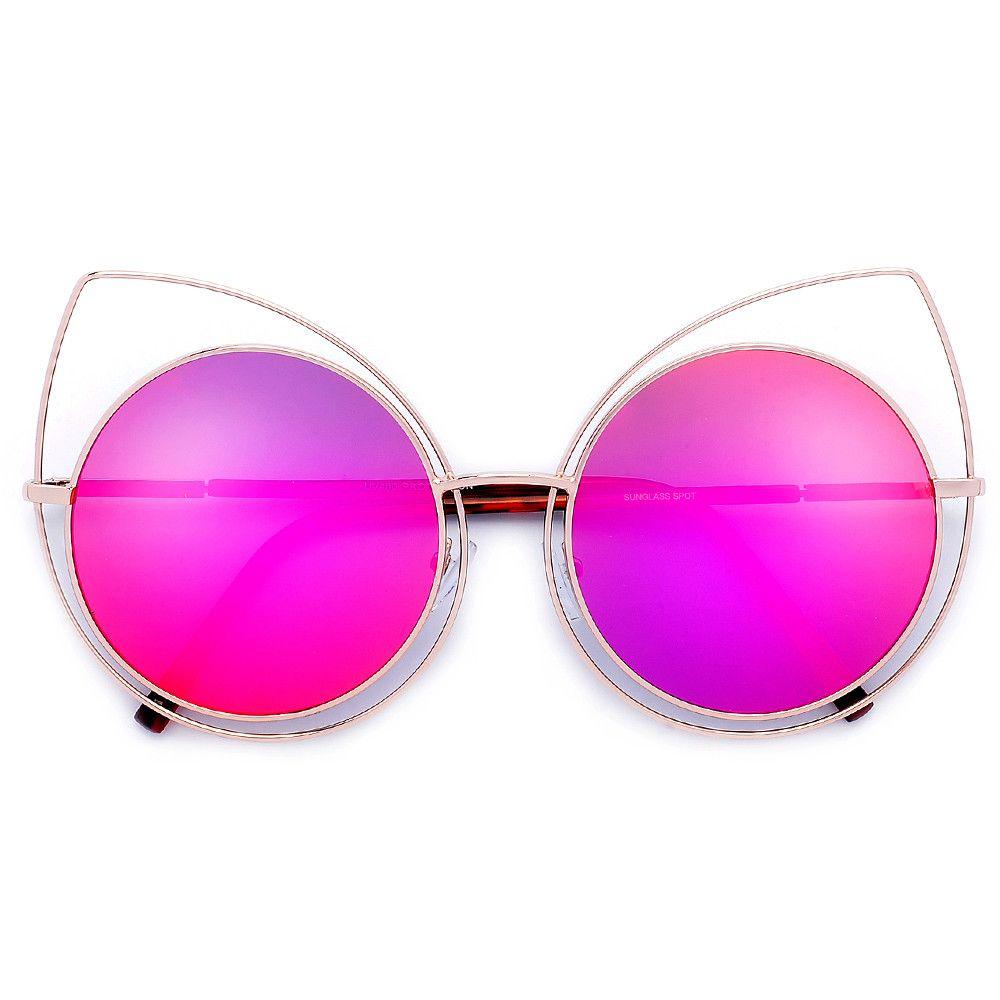 Round Ultra Thin Metal Wire Modern Cat Eye Silhouette Sunglasses ...