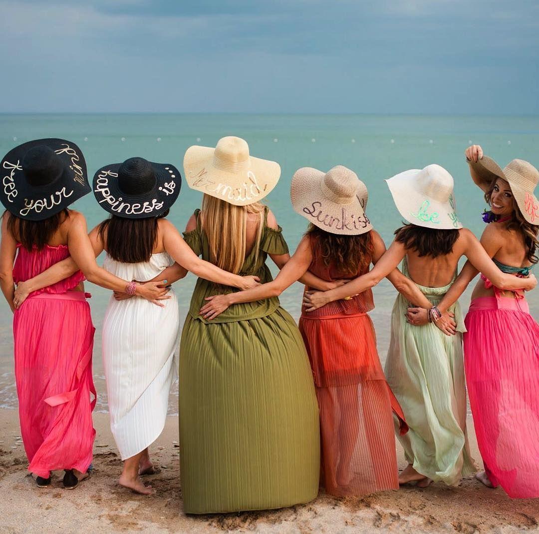 Bridesmaids in Sequins  #hats #handmade #sequinhats #bridesmaids #beachhats #customhats #sunhats