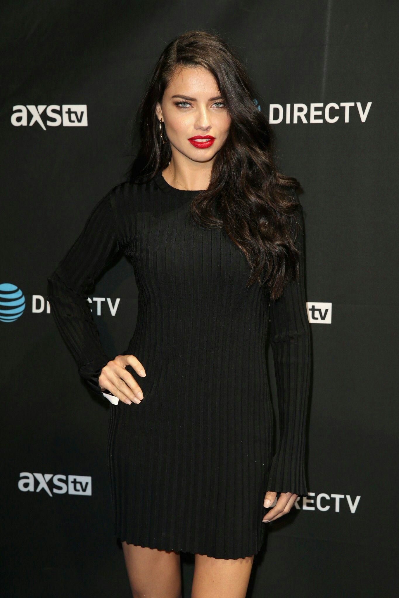 Black dress with red lipstick - Adriana Lima L Black Dress Red Lips