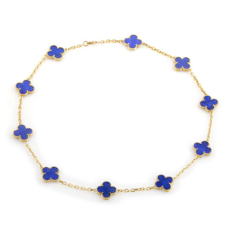 Van Cleef And Arpels 10 Motif Alhambra Lapis Gold Necklace Van Cleef And Arpels Jewelry Silver Jewelry Necklace Van Cleef