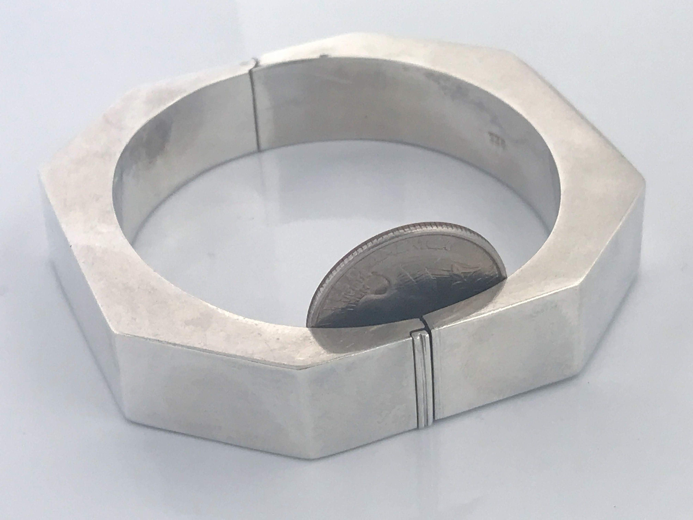 modern bangle silver bangle silver cuff vintage aluminum thick bangle for a roomy wrist gleaming silver coloured Vintage boho bracelet