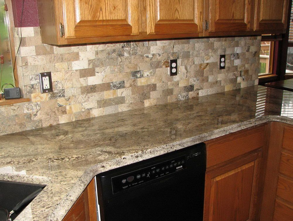 Santa cecilia granite tile backsplash home design ideas for Granite countertop design ideas