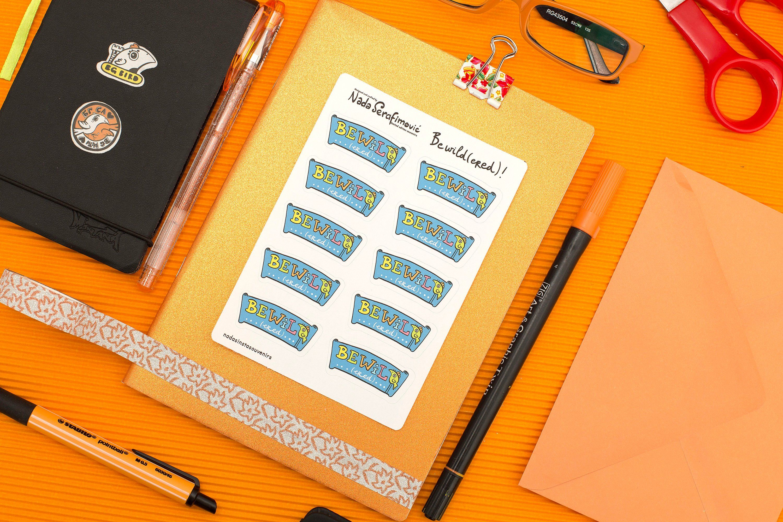 blue be wild or bewildered word script illustration game play planner sticker sheet A6 for bullet journalling vin… | Planner stickers. Sticker ...