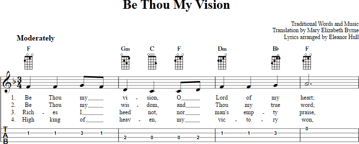 Be Thou My Vision sheet music for ukulele with chords, lyrics, and ...