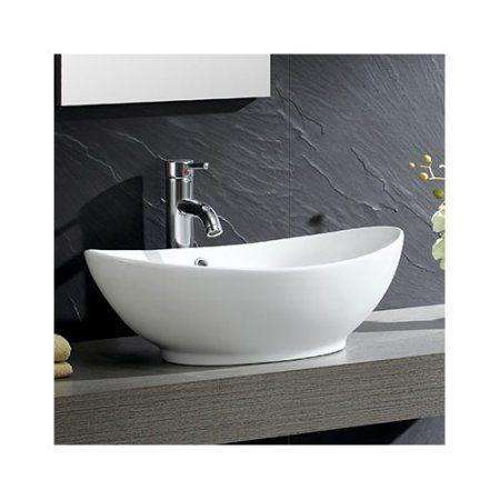 Fine Fixtures Modern Vitreous Oval Vessel Bathroom Sink with