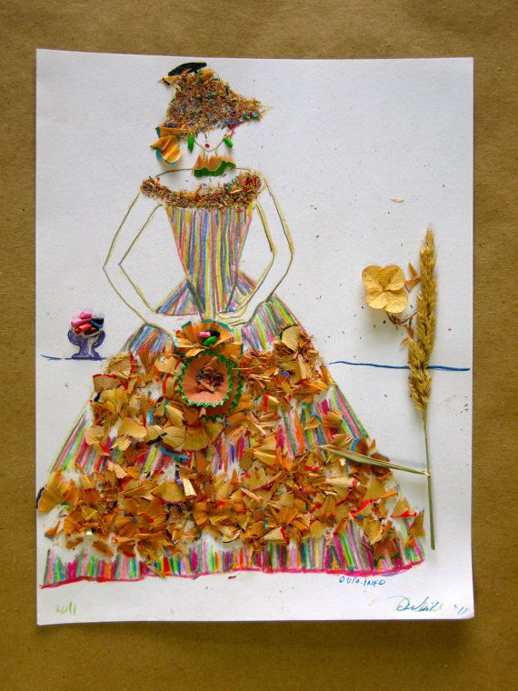Manualidades Vistosas.Colored Pencil Shavings Drawing Women With A Staff Or