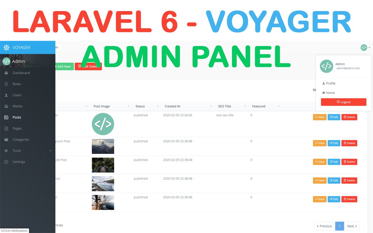 Voyager Laravel 6 Install Admin Panel for managing users, roles, permissions  & crud Example Tutorial in 2020 | Admin panel, Admin, Tutorial