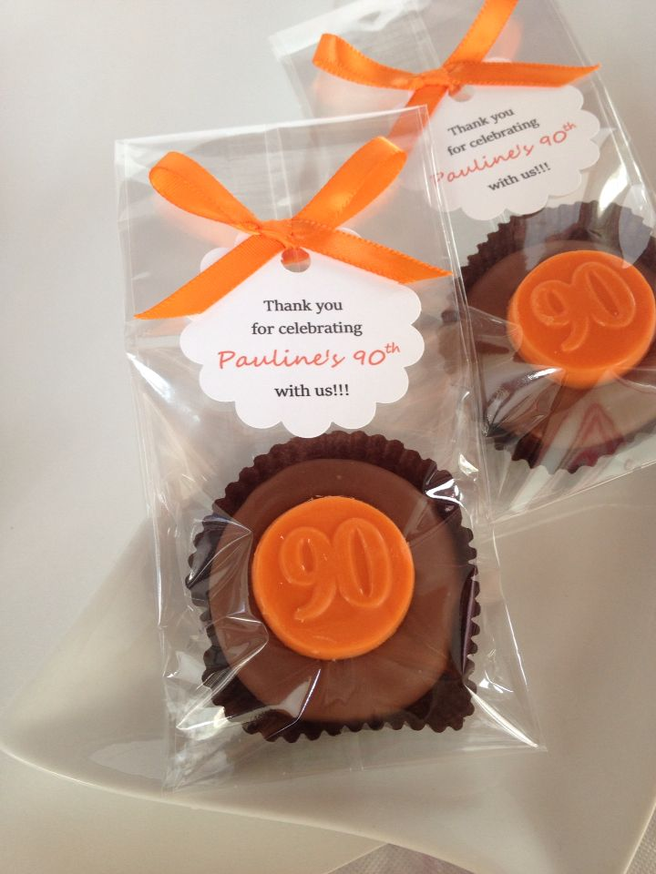 Chocolate 90th Birthday Party Favors Hand Dipped Oreo Cookies Orange Personalized Favor Tags Rosebudchocolates
