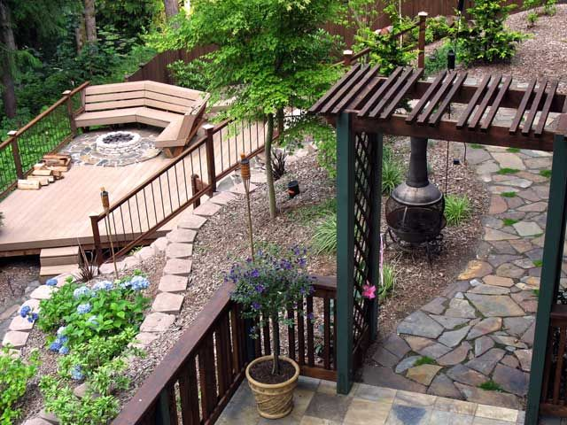 Sloped Backyard Landscaping Ideas Pictures Back Yard Down