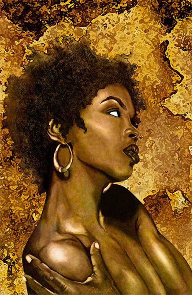 """""""Nothing Even Matters"""" (Lauryn Hill) - Philece.R (ThatArtista); Atlanta, Georgia {contemporary figurative art African-American black woman face profile portrait #naturalhair painting}"""