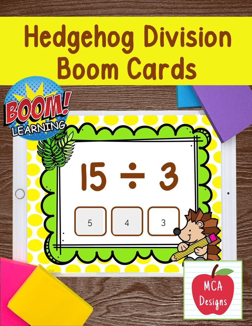 Hedgehog Division Facts Boom Cards Math Facts Elementary Math Math Lessons