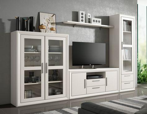 librera estilo moderna de madera de pino de Indufex  Muebles para sala en 2019  Muebles salon Mueble salon ikea y Muebles living