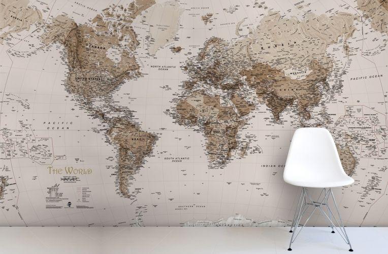 Earth Tone World Map Mural Wallpaper Art Amp Graphic