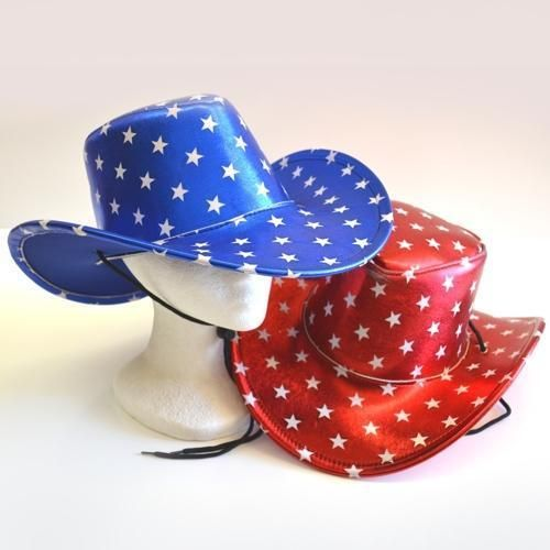 51e93353b Nashville cowboy hat satin finish red - blue with stars listing for ...