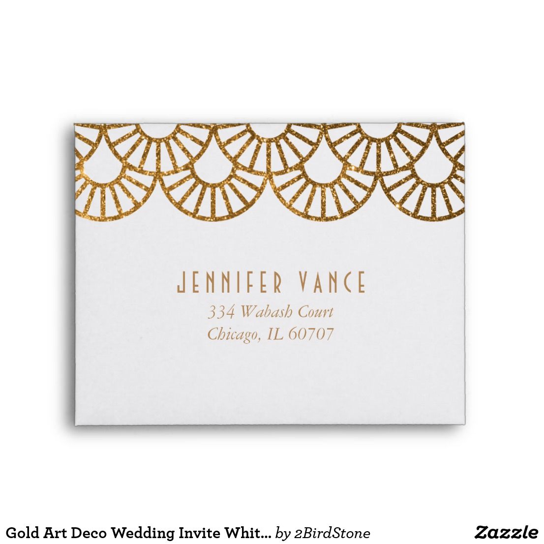 Gold Art Deco Wedding Invite White Reply Envelope | { Wedding ...