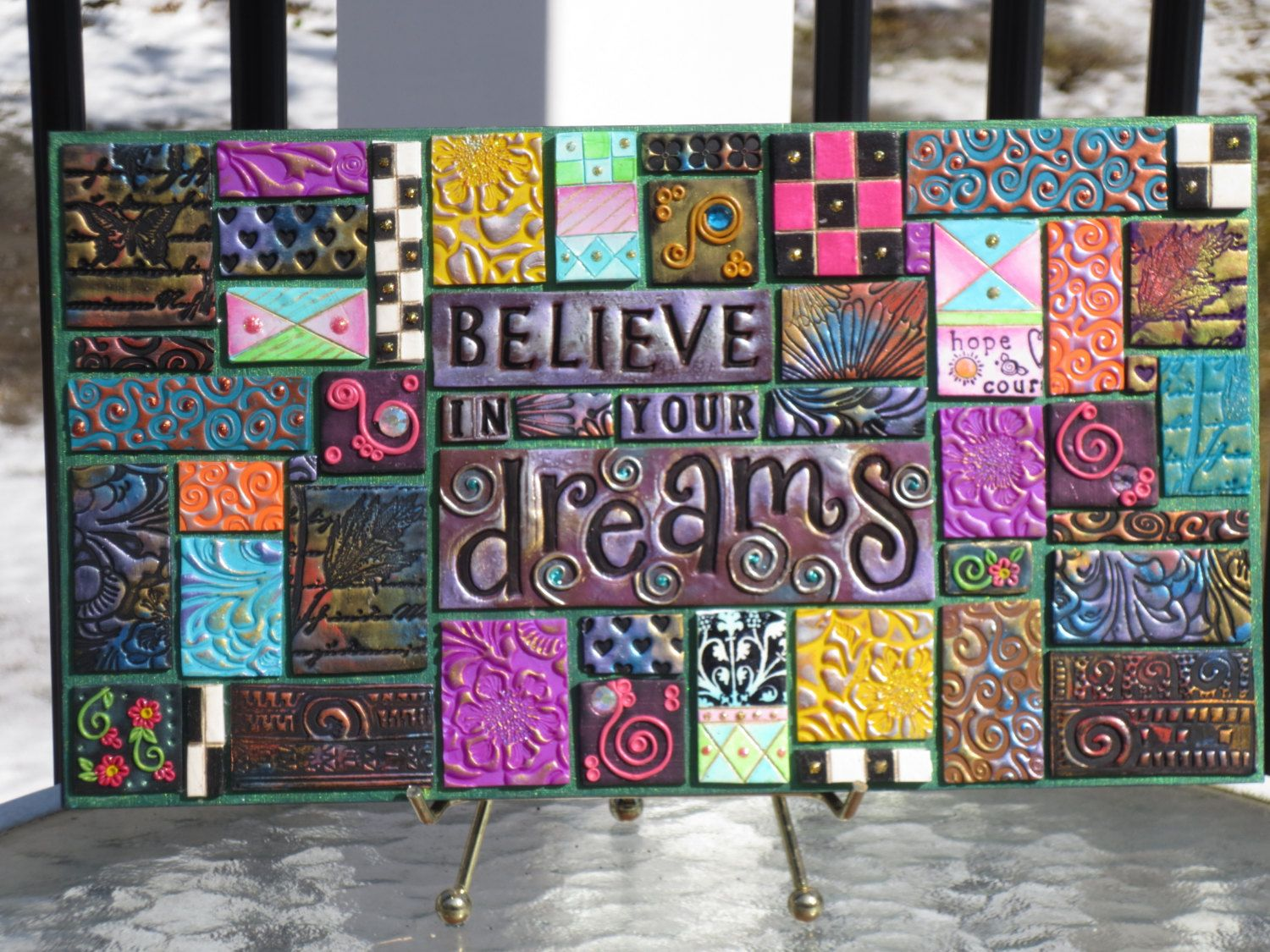 Believe in your Dreams Polymer Clay Tile Mosaic by myserenitycrafts12 on Etsy https://www.etsy.com/listing/225948481/believe-in-your-dreams-polymer-clay-tile