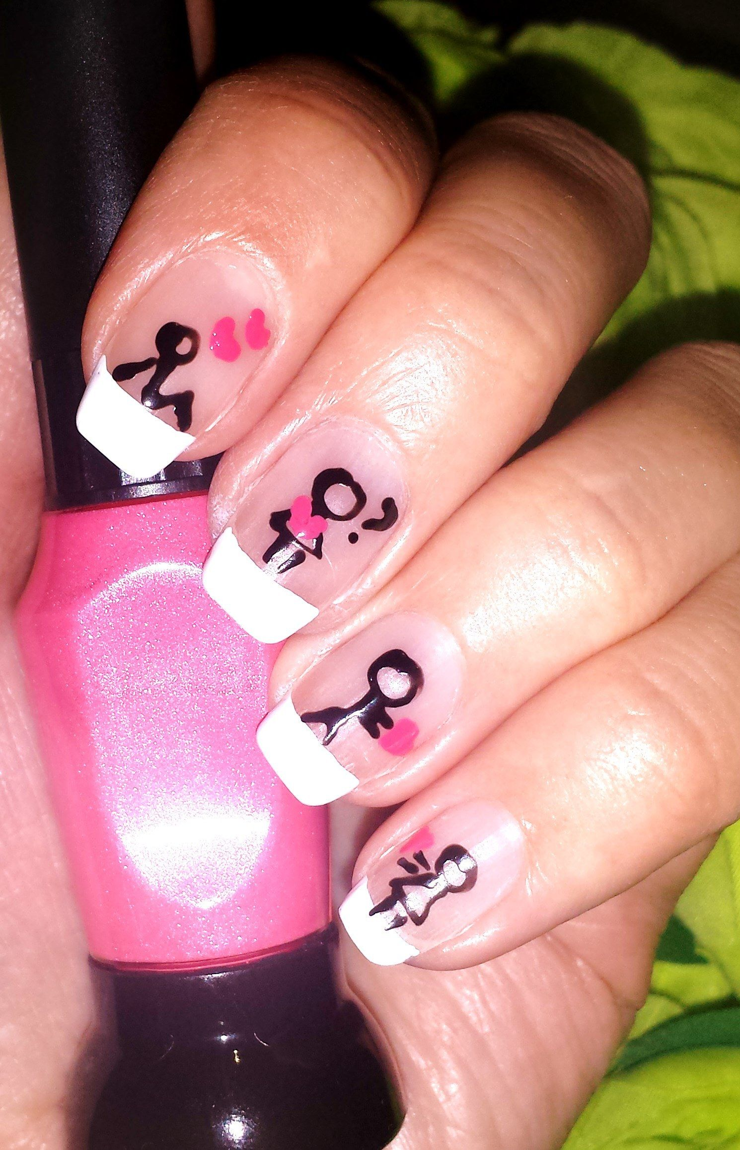 Cute easy boy heart girl nail art. Valentine\'s Day nail designs ...