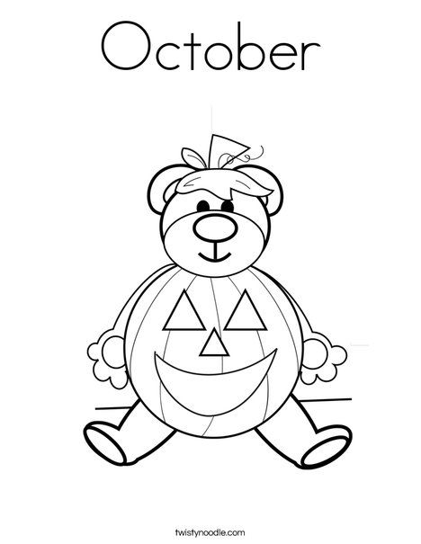 October Coloring Page from TwistyNoodle.com | Halloween Coloring ...