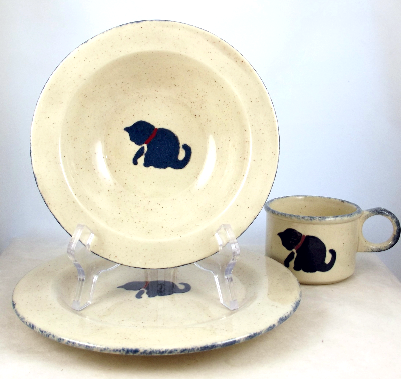 Vintage Earth Designs stoneware childu0027s dinnerware set cat motif - Other Tableware & Vintage Earth Designs stoneware childu0027s dinnerware set cat motif ...