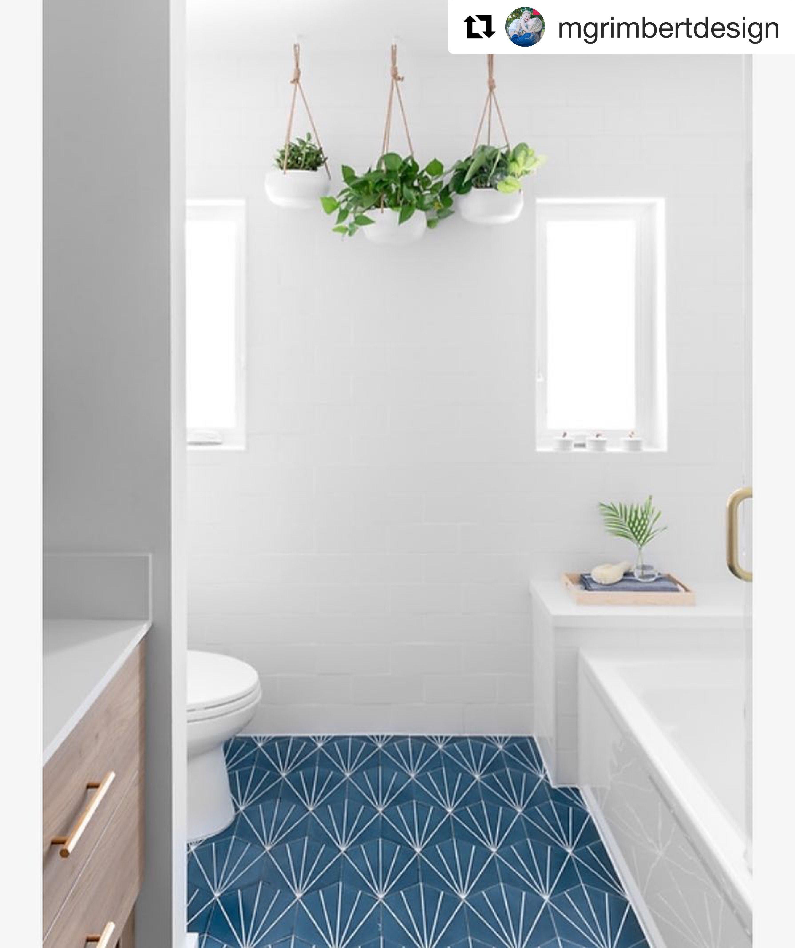 Riad Tile Cement Tile Nola Blue Blue Bathroom Tile Geometric Tiles Bathroom White Tile Bathroom Floor