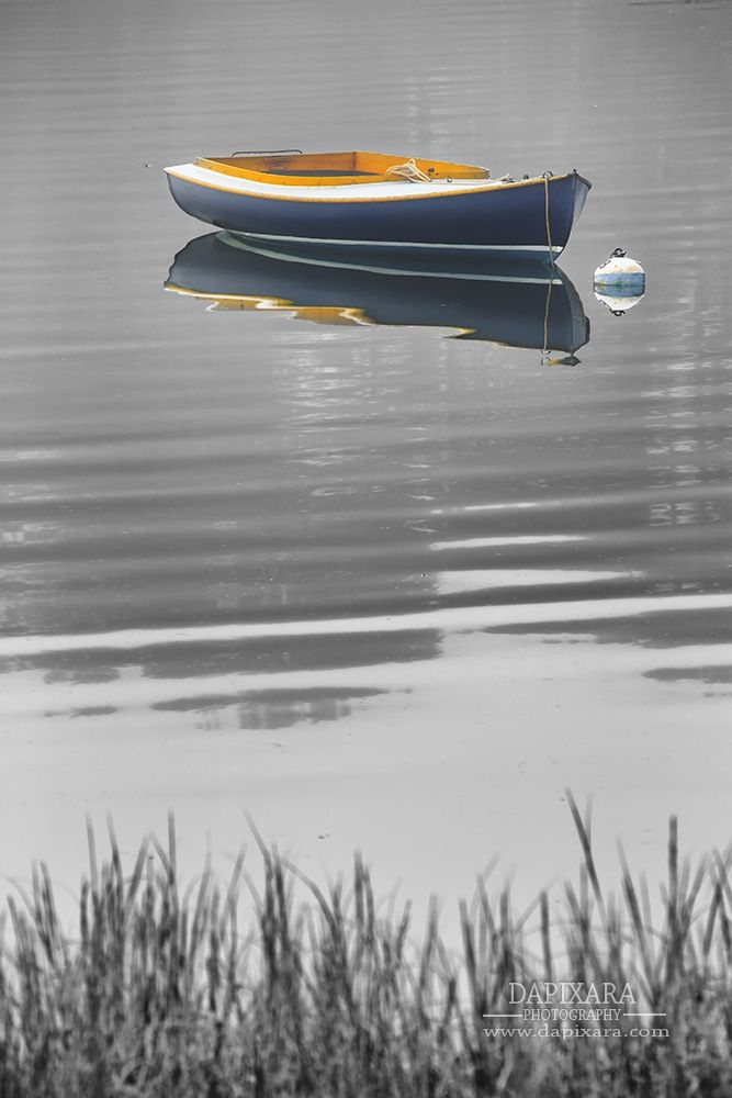 Nautical wall art cape cod photography boat photo dory skiff rowboat picture large wall art coastal beach decor black and white grey lifting fog blue boat