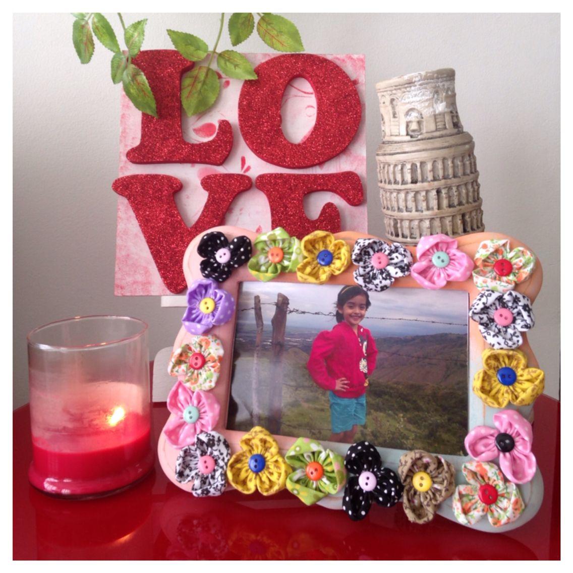 Porta retrato estilo vintage flores en tela hechas a mano - Flores de telas hechas a mano ...
