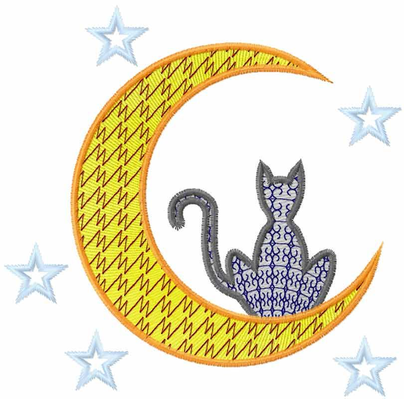 Cat And Moon Free Embroidery Design Cartoon Free Embroidery