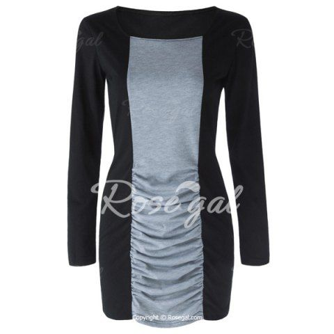Casual Square Neck Long Sleeves Color Splicing Pleated Dress For Women Long Sleeve Dresses | RoseGal.com Mobile
