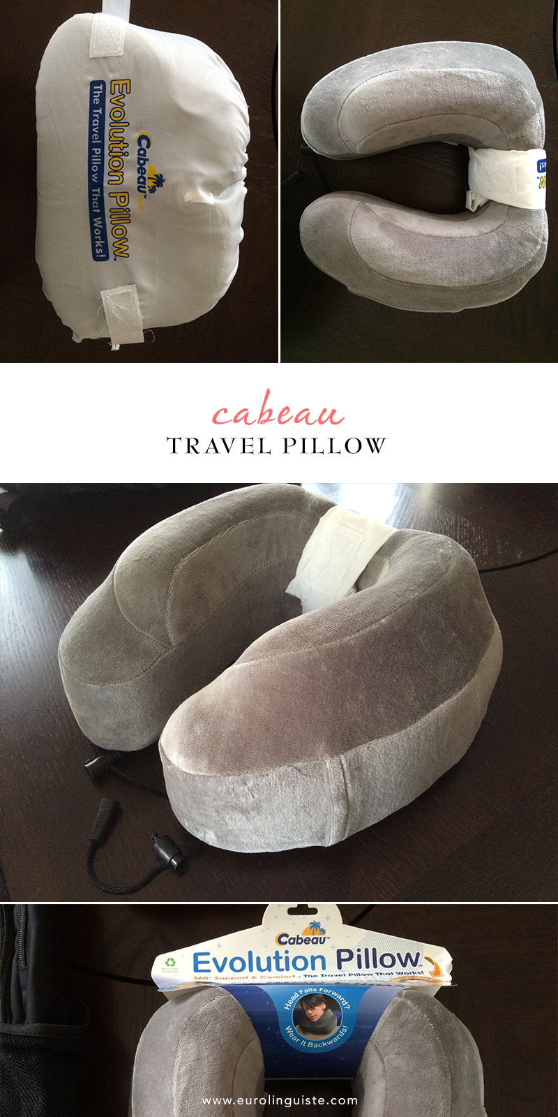 The Cabeau travel pillow is my first travel pillow and it also helped me to sleep soundly on my last flight! You can check out my review here.