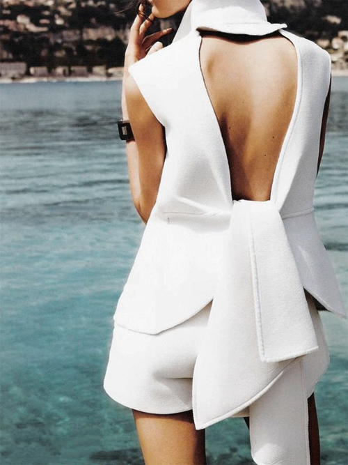 """Cote D'Azur"" Yves Saint Laurent dress photographed by Martin Lidell for L'Officiel Russia July 2010"