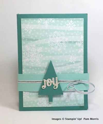 """Joy"" card with belly band by Pam Morris"