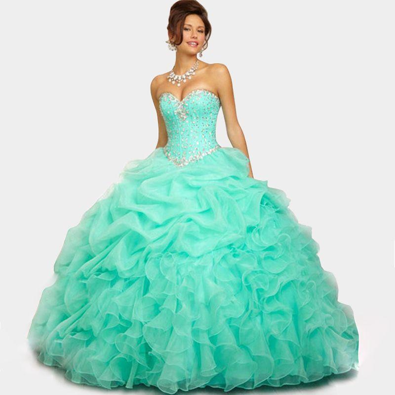 Cute Sweetheart Organza Pink Light Blue Quinceanera Dresses Ball ...